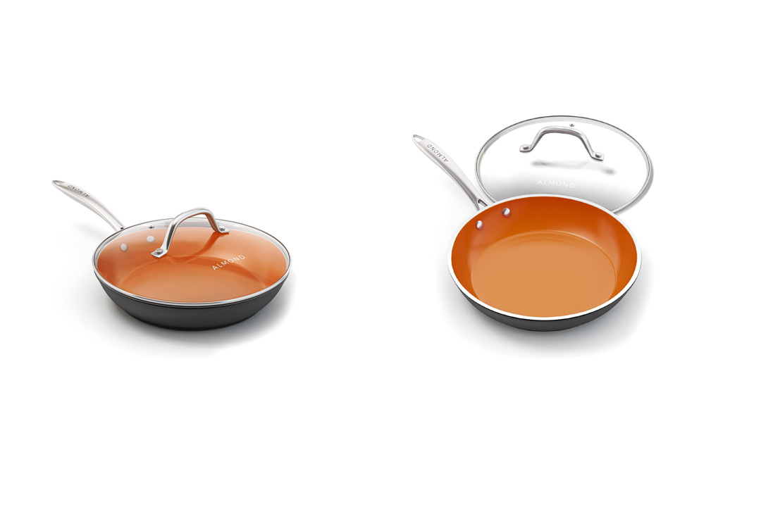 Copper Frying Pan, 10 Inch Ceramic Nonstick Saute Pan with Glass Lid, Dishwasher and Oven Safe Skillet with Almond