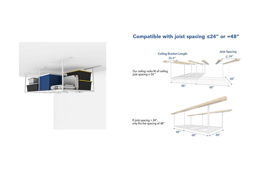 FLEXIMOUNTS 4x8 Overhead Garage Storage Rack Adjustable Ceiling Storage Rack Heavy Duty