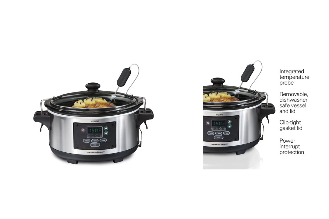Hamilton Beach 6-Quart Programmable Slow Cooker (33969A) Set & Forget with Temperature Probe