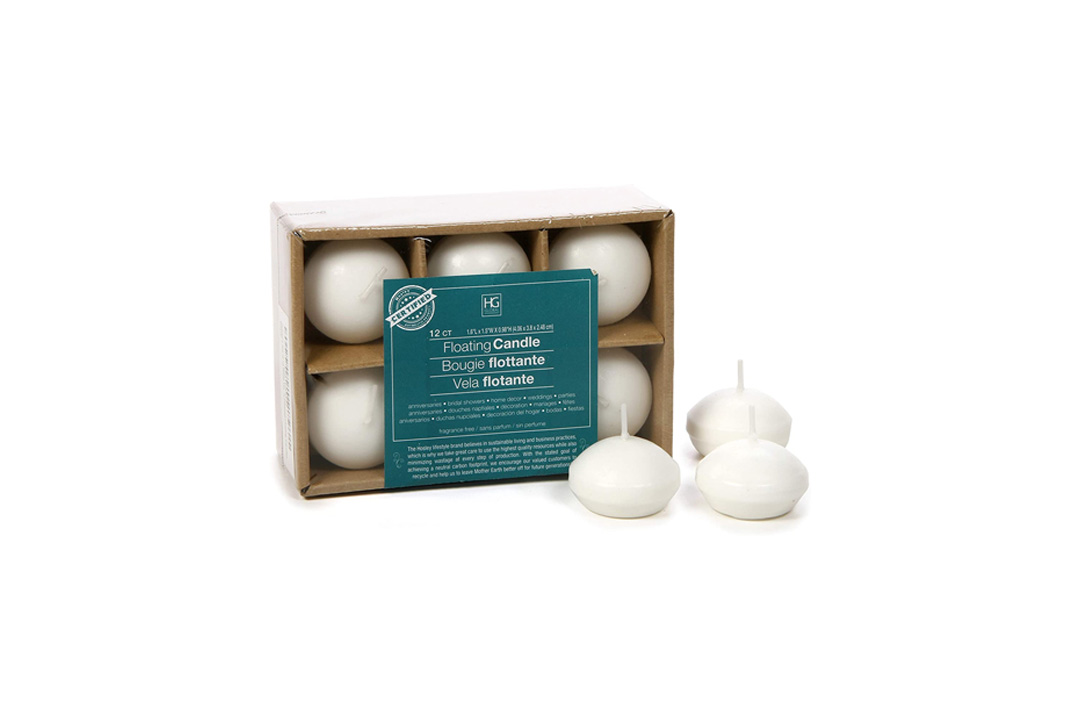 Hosley Set of 12, White Unscented Water Floating Mini Candle Discs