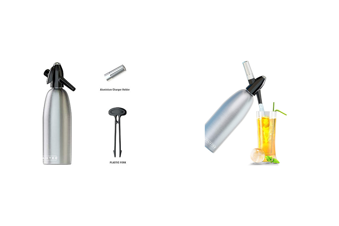 Innovate Soda Siphon - Ultimate Soda Maker - Aluminum - 1 Liter - With Free Cocktail Recipes (e-book)