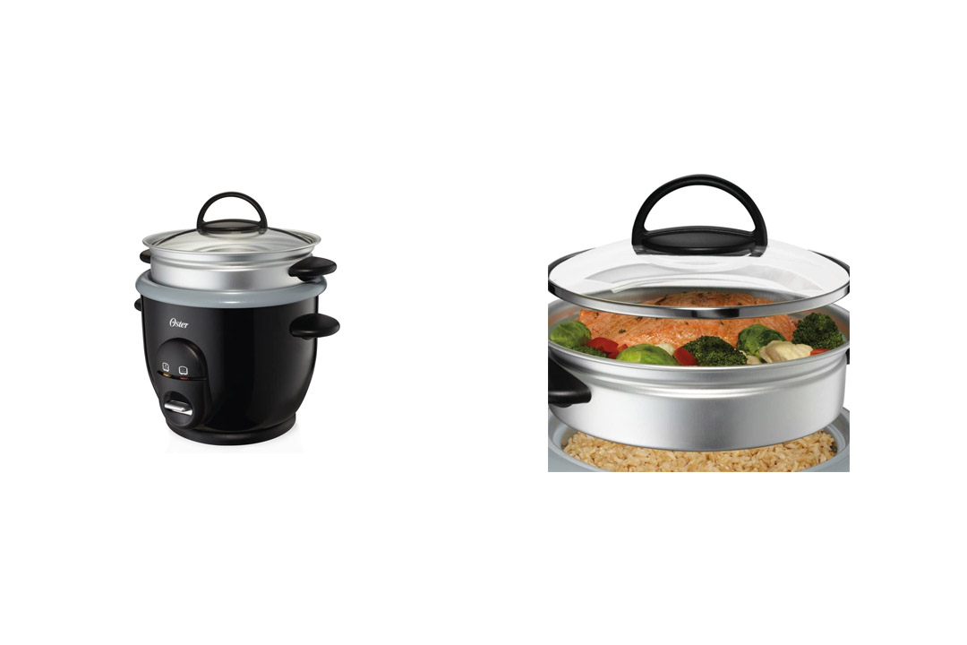 Oster Titanium Infused 6 Cup Rice & Grain Cooker with Steam Tray CKSTRC61K-TECO