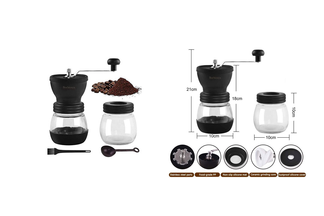 Premium Manual Coffee Grinder, Portable Hand Coffee Mill with Adjustable Ceramic Burrs, Cleaning Brush, Glass Storage Jars, Silicone Non-Slip Mat, Silicone Dust-Proof Cover for Beans, Easy to Clean (Black)