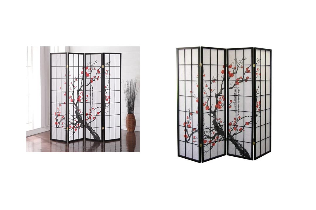 Roundhill Furniture Black Japanese 4-Panel Screen Room Divider
