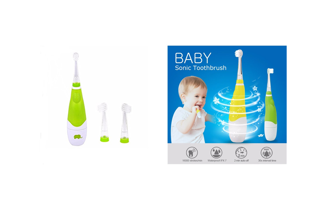 Baby Sonic Toothbrush (2-4 Years Old) Toddles Electric Toothbrush Battery Toothbrushes Oral Care 3 Tooth Brush Heads