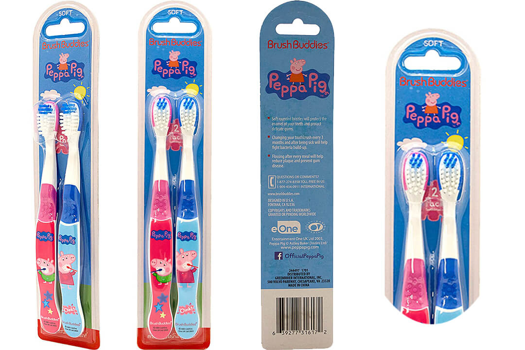 8. Brush Buddies Peppa Pig 2 Pack Toothbrush