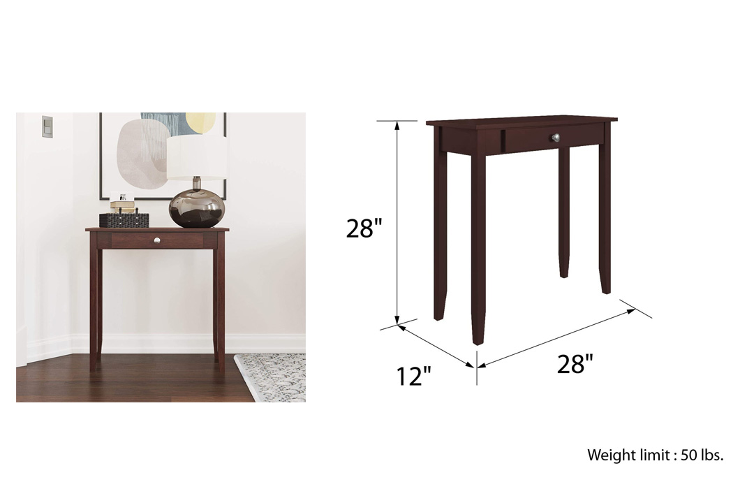 DHP Rosewood Tall Sofa Table, Medium Coffee Brown