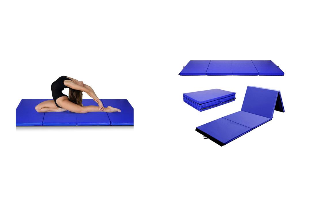 "Mat Expert Blue 4'x8'x2"" Thick Folding Panel Gymnastics Mat Gym Fitness Exercise Mat"