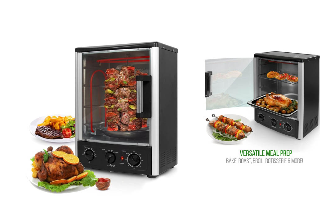 Upgraded Nutrichef Countertop Turkey Thanksgiving Rotisserie Oven
