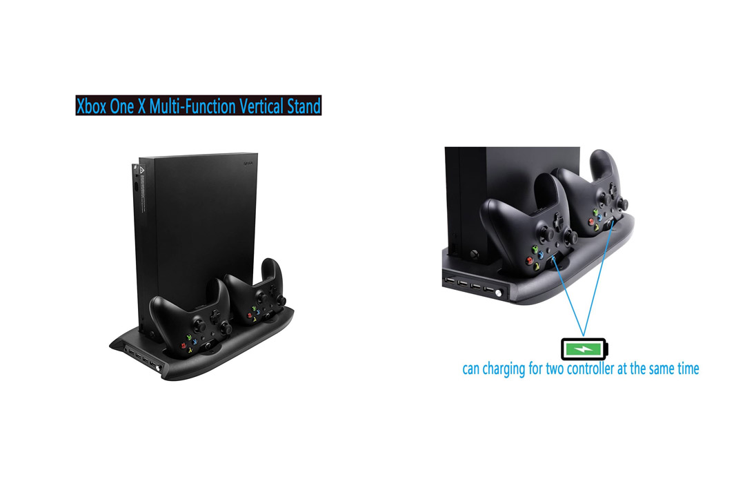 Xbox One X Console Vertical Stand Cooling Fan with Dual Charging Station For Xbox One X Aevdor