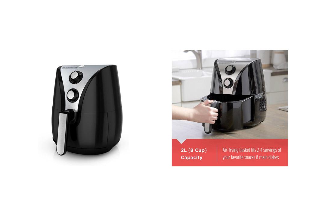 BLACK+DECKER Purify 2-Liter Air Fryer, Black/Stainless Steel, HF110SBD