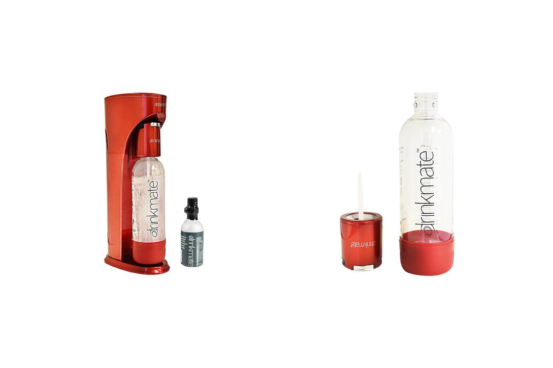 Drink mate Beverage Carbonation Maker with 3 oz Cylinder, Metallic Red