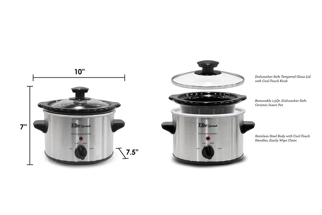 Elite Gourmet MST-250XS 1.5 Quart Slow Cooker, Silver (Stainless Steel Finish)