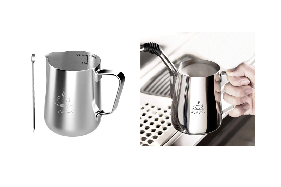 Milk Frothing Pitcher Stainless Steel Measurement Inside the frothing Cup
