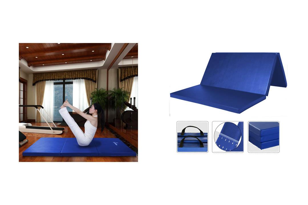 WolfWise PU Leather Gymnastics Mat Folding Tumbling Tri-Fold Mats Gym Pad Exercise Pading AB Mat