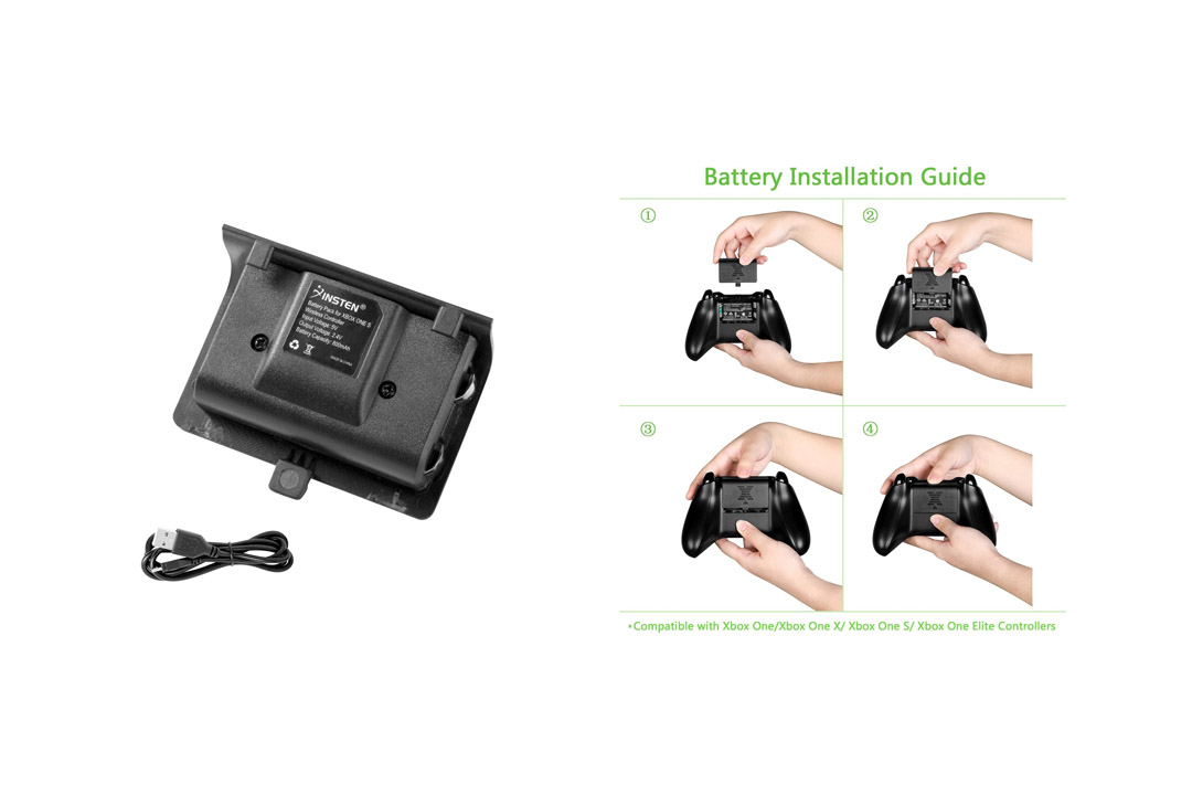 Xbox One Play & Charge Kit, Insten Rechargeable Battery Pack with USB Charging Cable INSTEN