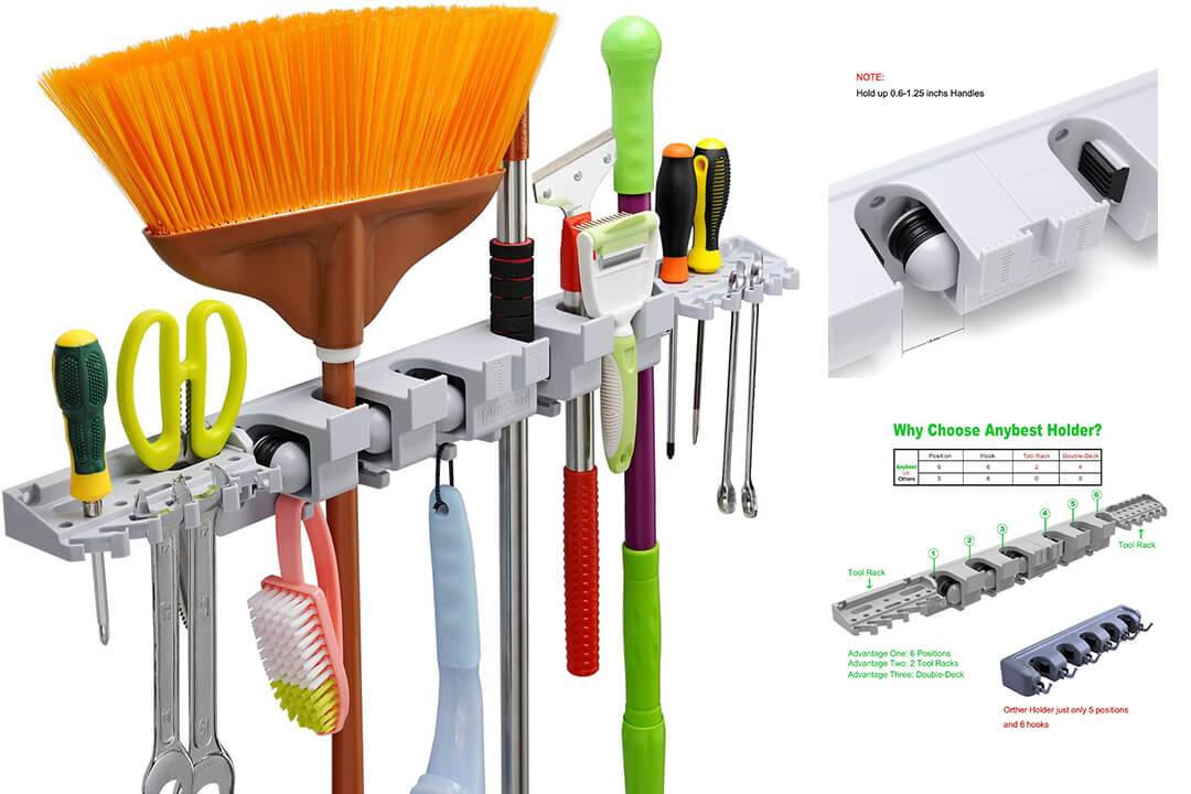 Anybest Patented Design Utility Mop Broom Holders Wall-Mounted Garden Tool Rack Garage Storage