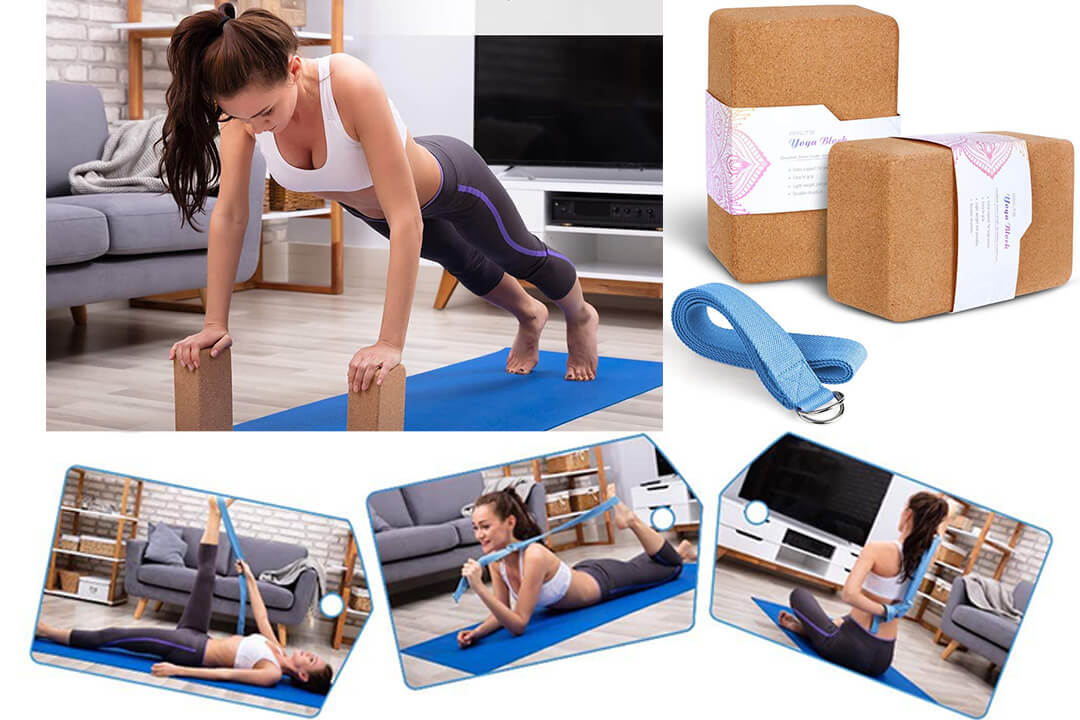Arltb Cork Yoga Block 2 Pack and yoga Strap Set with Metal