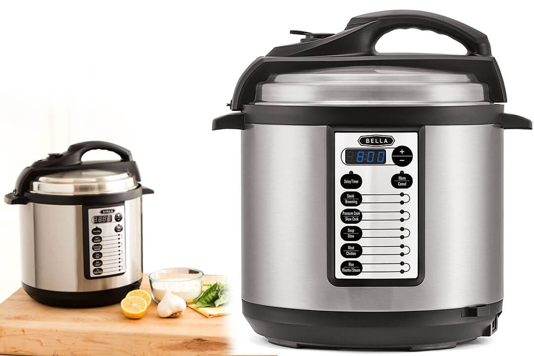 BELLA 6 Quart Pressure Cooker with ten pre-set functions and Searing Technology, 1000 watt