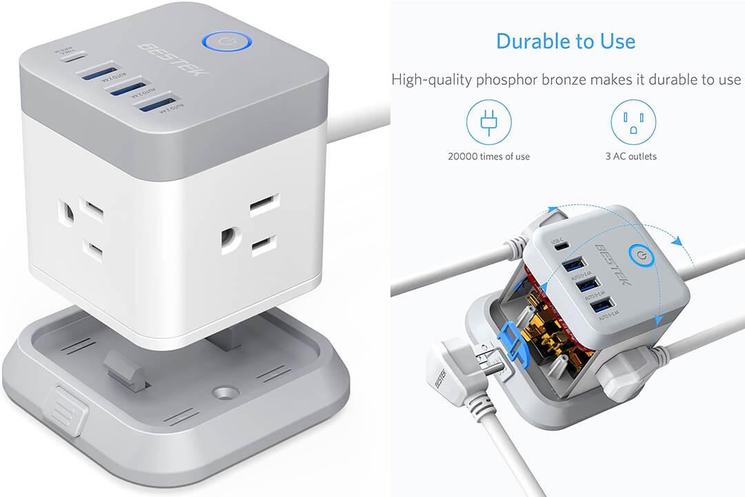 BESTEK Power Strip USB Vertical Mountable Power Cube