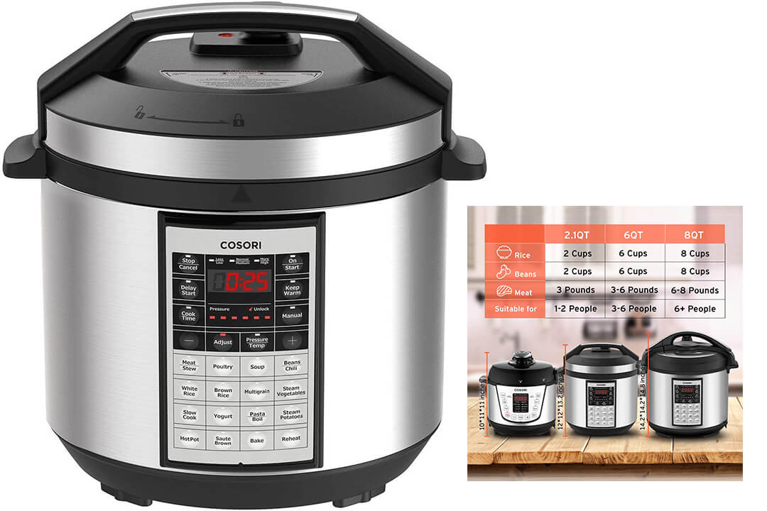 COSORI 6 Qt Premium 8-in-1 Programmable Multi-Cooker