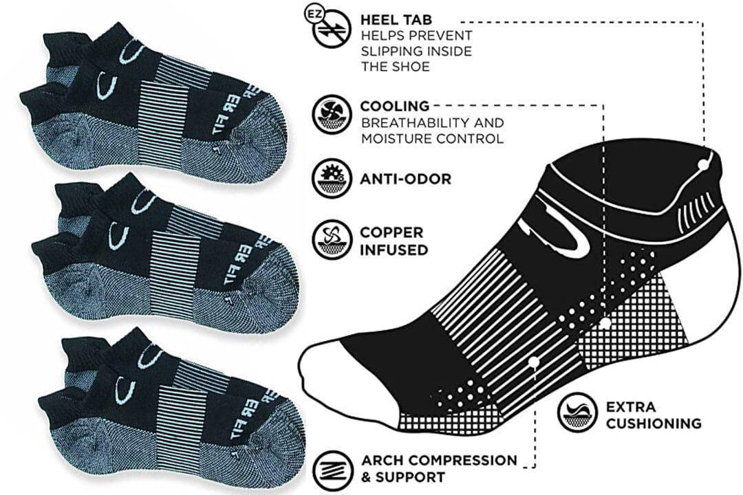 Copper Fit Unisex Copper Infused No Show Socks