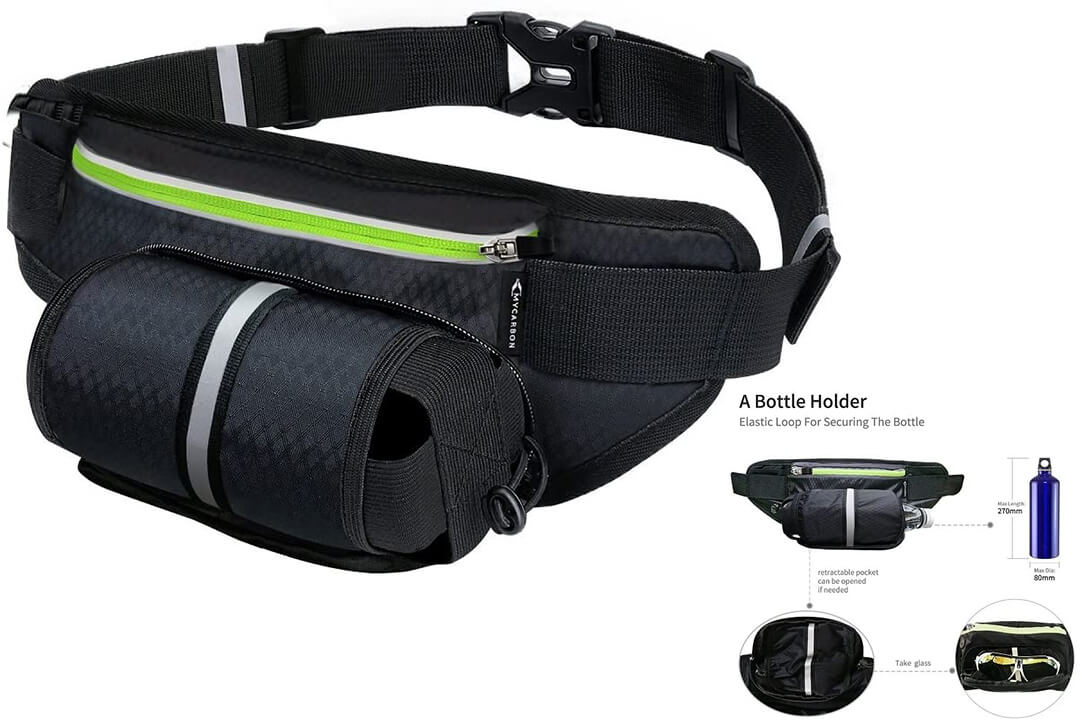 Fanny Pack MY CARBON Waist Pack with Water Bottle Holder Running Belt