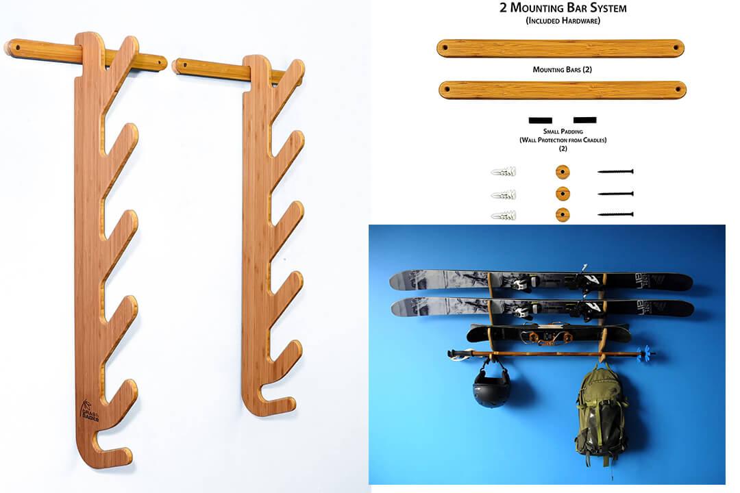 Grassracks Hallsteiner Pro Bamboo Ski Rack for 4 or 5 Pairs of Skis