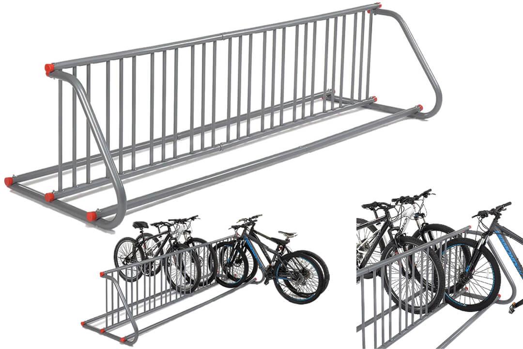 Grid Bike Rack, Double Sided, Powder Coated Galvanized Steel, 18-Bike Capacity