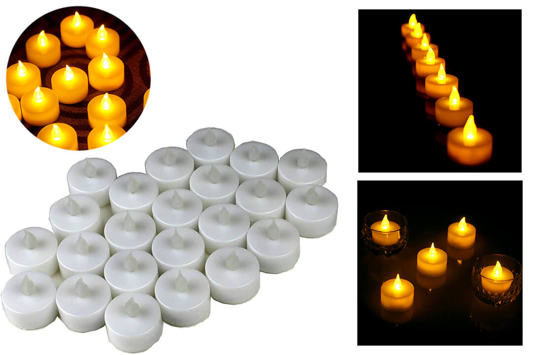 Instapark Flameless LED Tea Light Candles Realistic Bulk Tealights, Warm Amber, Pack of 24