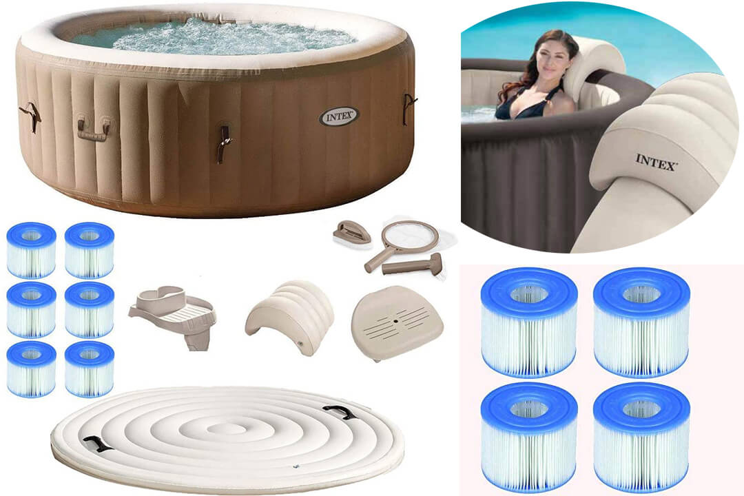 Coleman Inflatable Spa 4-Person Hot Tub with 6 Filter Cartridges