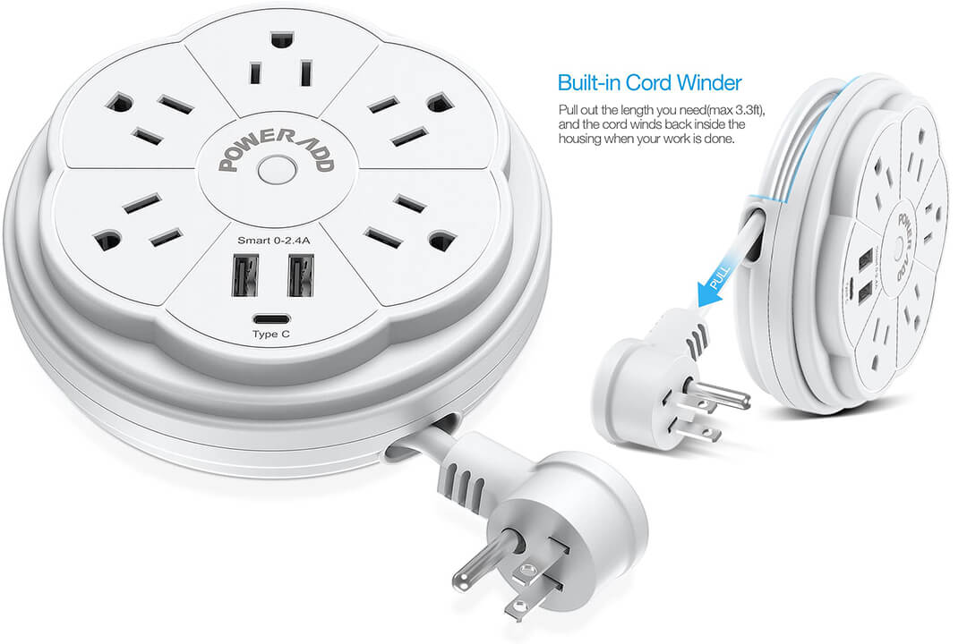 POWERADD 5 Outlet Travel Power Strip Surge Protector Retractable Cord USB Port