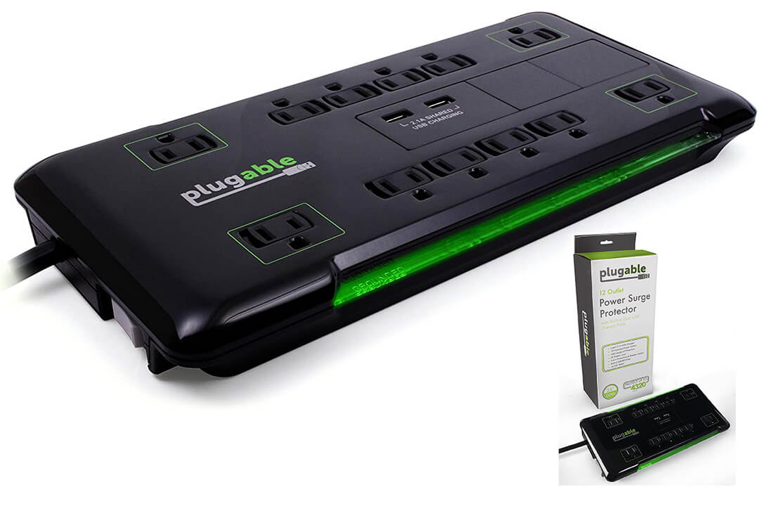 Pluggable Protector Surge Power Strip USB 12 AC Built-in Outlets 10.5W USB Charger2-Port