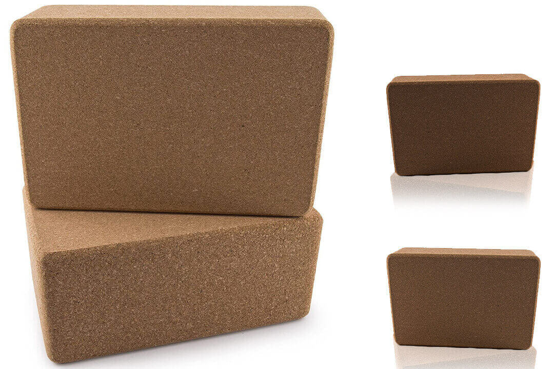 Set of 2 Da Vinci Premium Natural Cork Yoga Blocks - High Density, 9 x 6 x 4 Inch Each