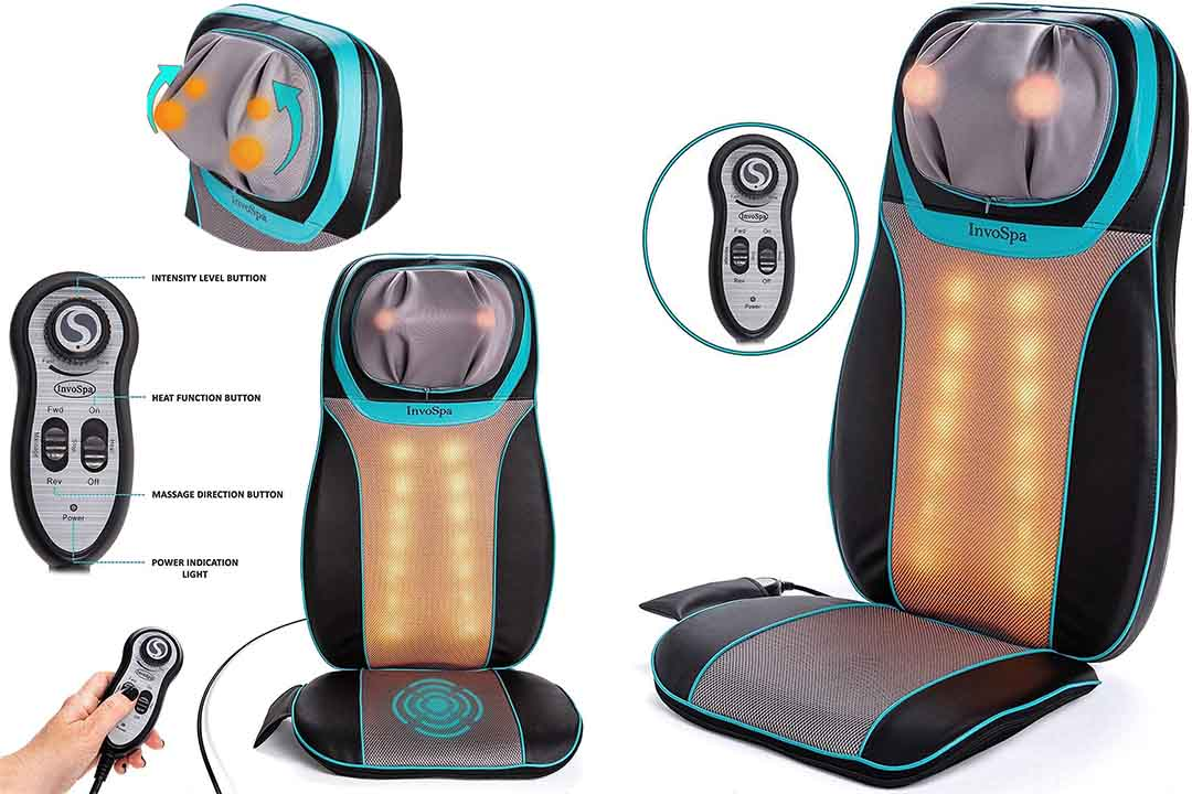 Shiatsu Neck Back Massager Massage Seat Chair Heat Cushion Rolling Kneading