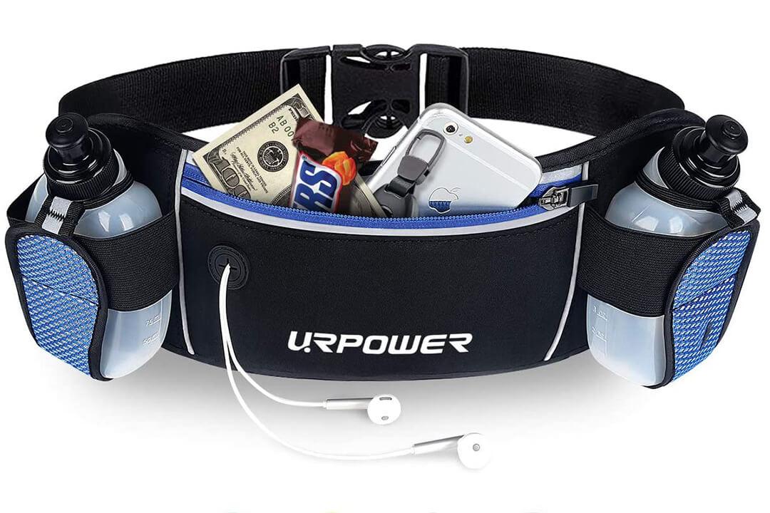 URPOWER Running Belt Zipper Pockets Water Resistant Waist Bag