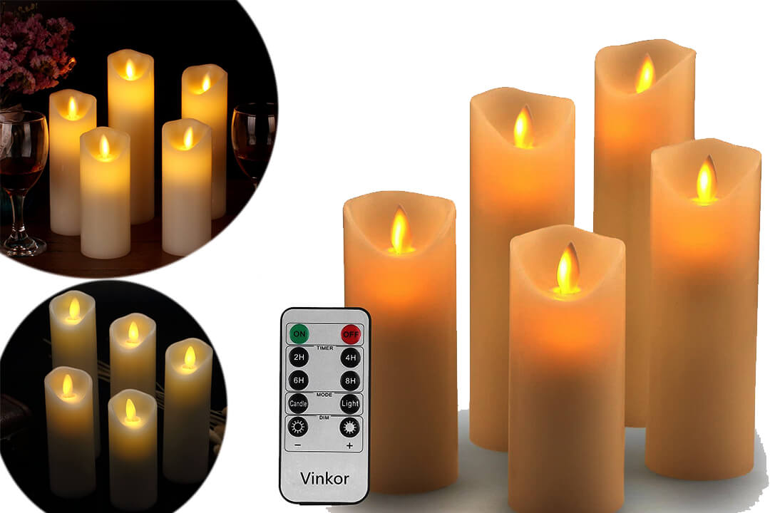 Vinkor Flameless Candles Flickering Flameless Candles Set Decorative Flameless Candles