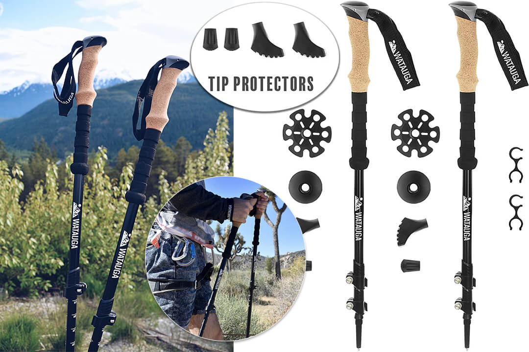 Watauga Trekking Poles (Pair) - Collapsible Ultralight Hiking Sticks with Cork